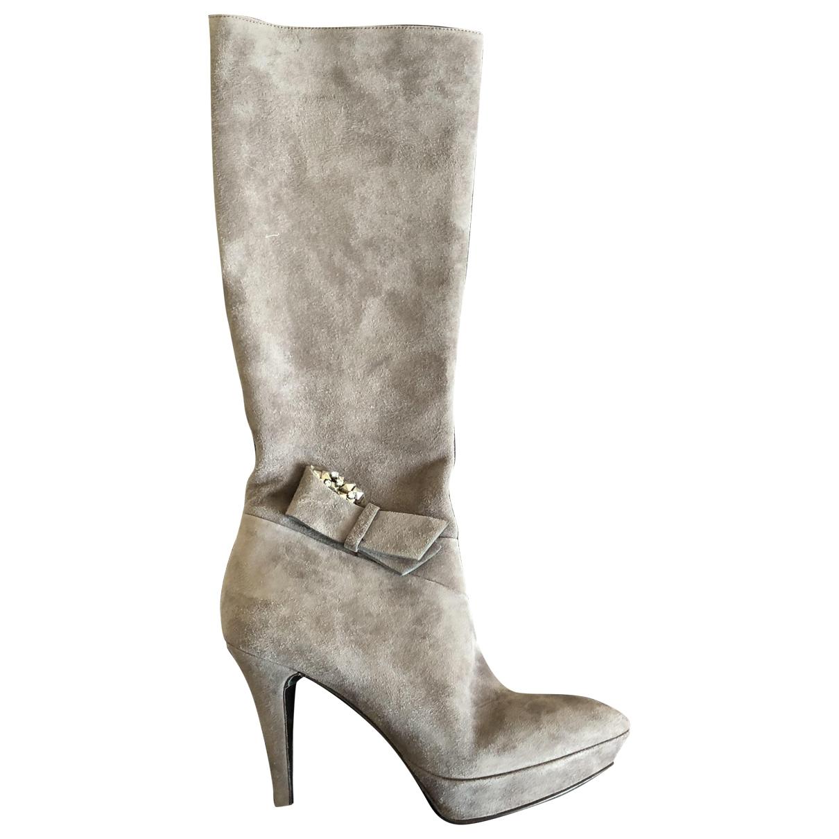 - Bottes   pour femme en cuir - gris