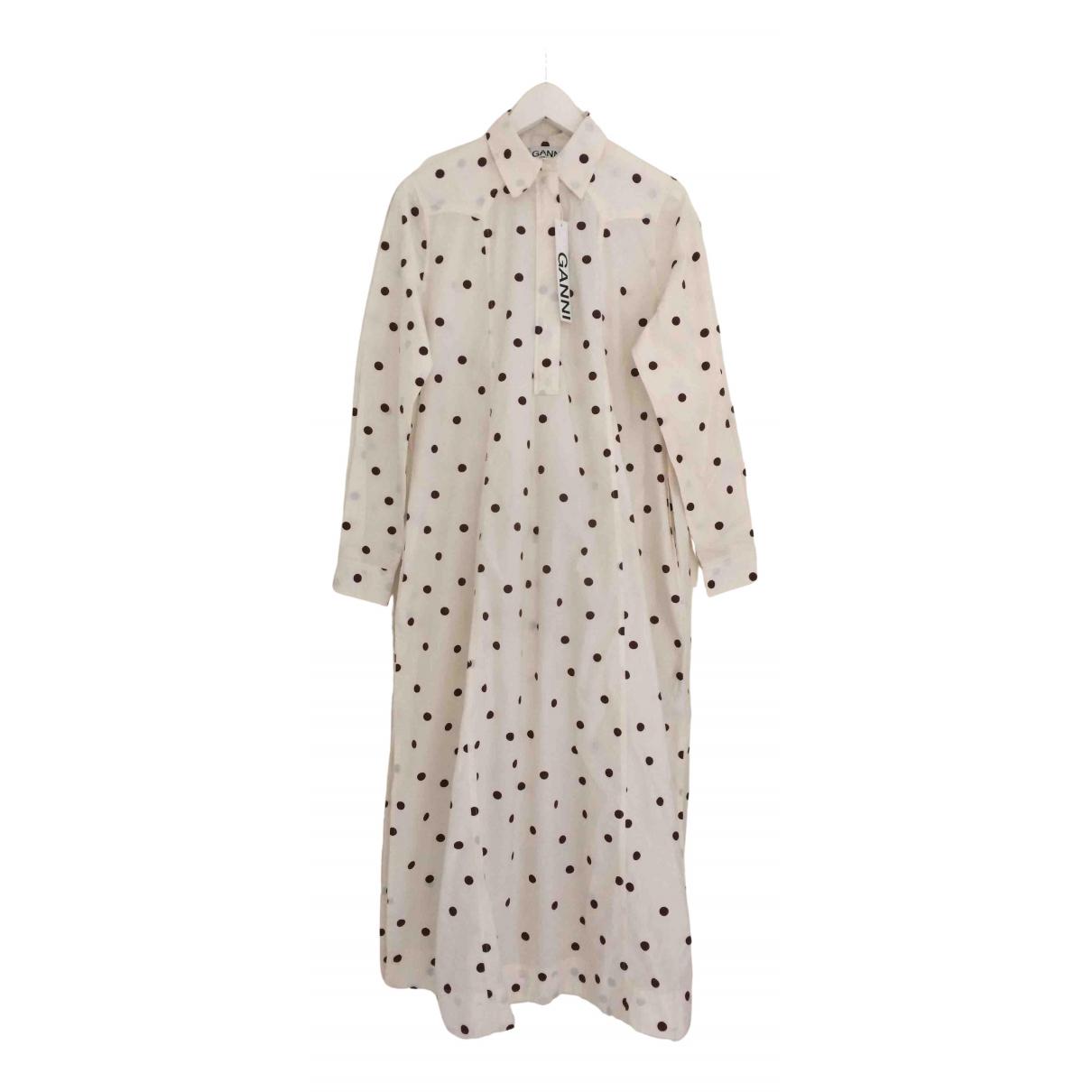 Ganni Spring Summer 2020 Kleid in  Ecru Baumwolle