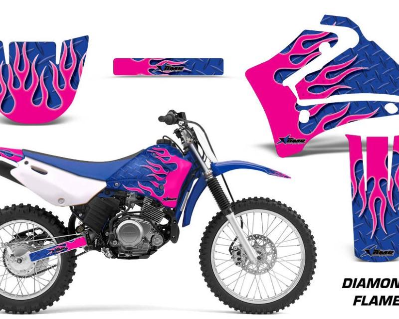 AMR Racing Dirt Bike Graphics Kit MX Decal Wrap For Yamaha TTR125LE 2000-2007áDIAMOND FLAMES PINK BLUE
