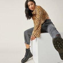 Teddy Sweatshirt mit Leopard Muster und Stehkragen