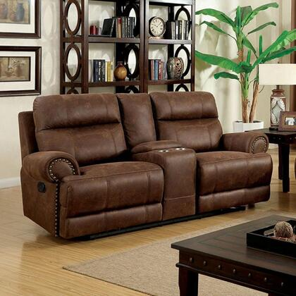 Kellie Collection CM6281-LV Reclining Love Seat with 2 Recliners  Storage Console  Rolled Arms  Nailhead Trim  Plush Cushions and Leatherette in