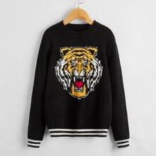 Pullover mit Streifen und Tiger Muster