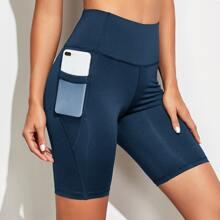 Wide Band Waist Biker Shorts & Phone Pocket