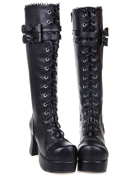 Milanoo Black Lolita Boots Chunky Heels Platform Shoelace Straps Bows