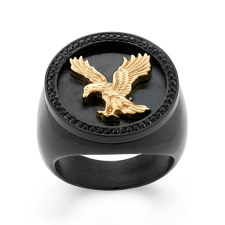Mens Crystal Stainless Steel & Black IP Eagle Signet Ring, 11 , No Color Family