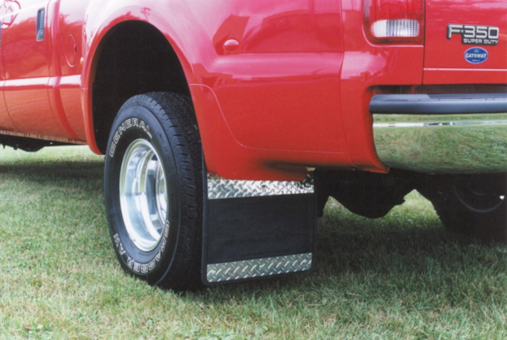 Owens Products 86RF105D Mud Flaps Classic Dually Rubber Mudflaps / Diamond Tread Aluminum Inserts / 99-10 Ford F350 / 19 x 24 /