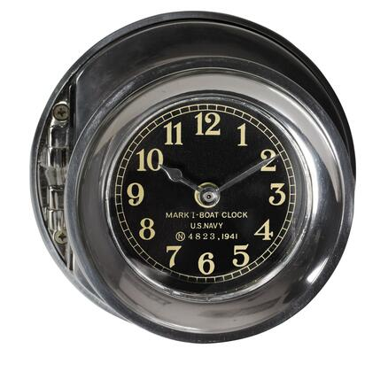 SC048 Navy Clock with Polished Aluminum Material  in