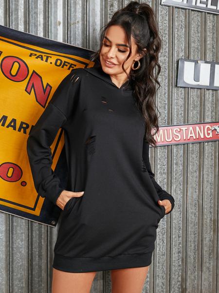 YOINS Black Ripped Long Sleeves Hooded Design Dress