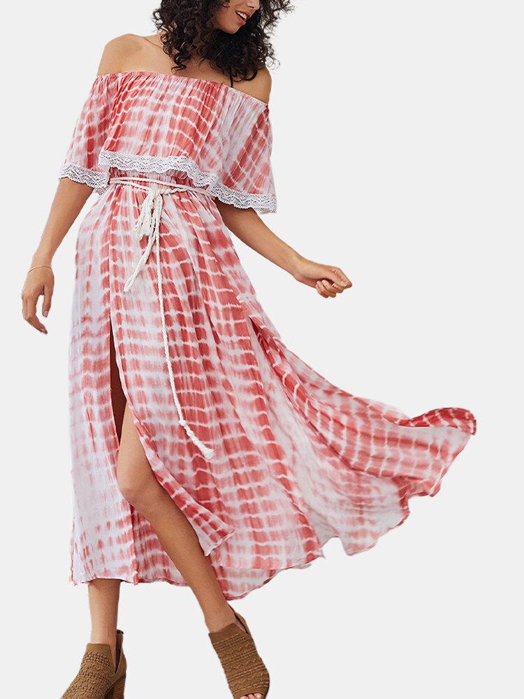Sexy Off Shoulder Drawstring Print Lace Split Midi Dress