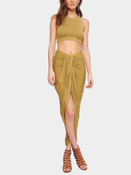Yoins Yellow Wrap Pleated High Low Skirt