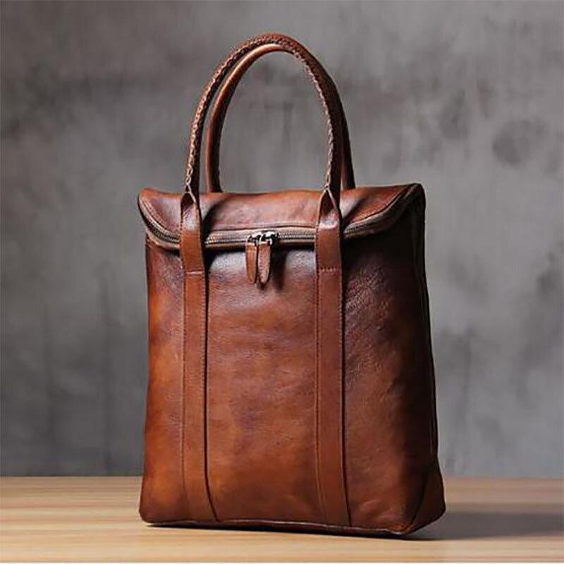 Men PU Leather Solid Retro Business 13.3 Inch Laptop Bag Briefcase Handbag