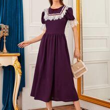 Contrast Lace Detail Ruffle Cuff Dress