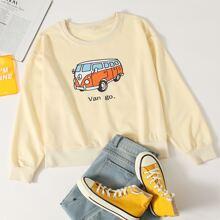 Sweatshirt mit Karikatur Bus und Buchstaben Muster