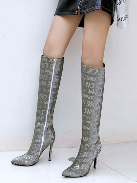 Milanoo Women Knee-High Boots PU Leather Red Pointed Toe Stiletto Heel Knee Length Boots For Woman