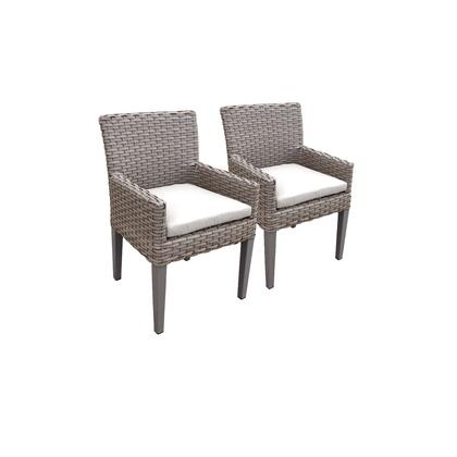 TKC297b-DC-C-WHITE 2 Oasis Dining Chairs With Arms - Grey and Sail White