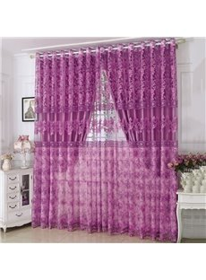 Rural Style Shading and Sheer Together Purple Embroidery Floral Curtain Sets
