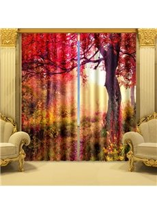 3D Beautiful Red Tree Printed Vibrant Color Natural Scenery Custom Living Room Curtain