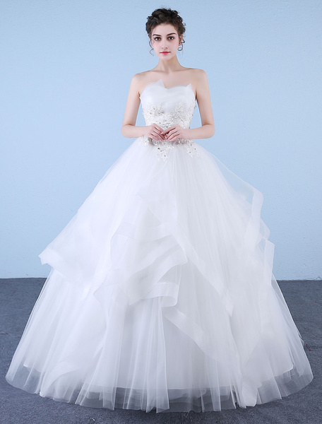 Milanoo Princess Ball Gown Wedding Dresses Strapless Ivory Lace Beaded Tulle Floor Length Bridal Dress