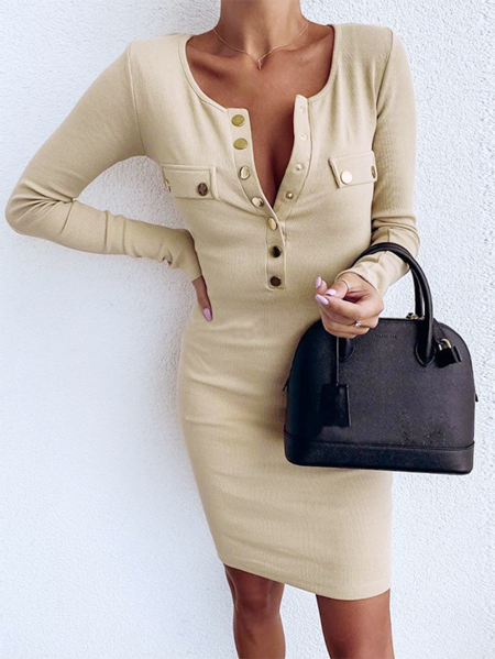 YOINS Khaki Front Button Round Neck Long Sleeves Dress