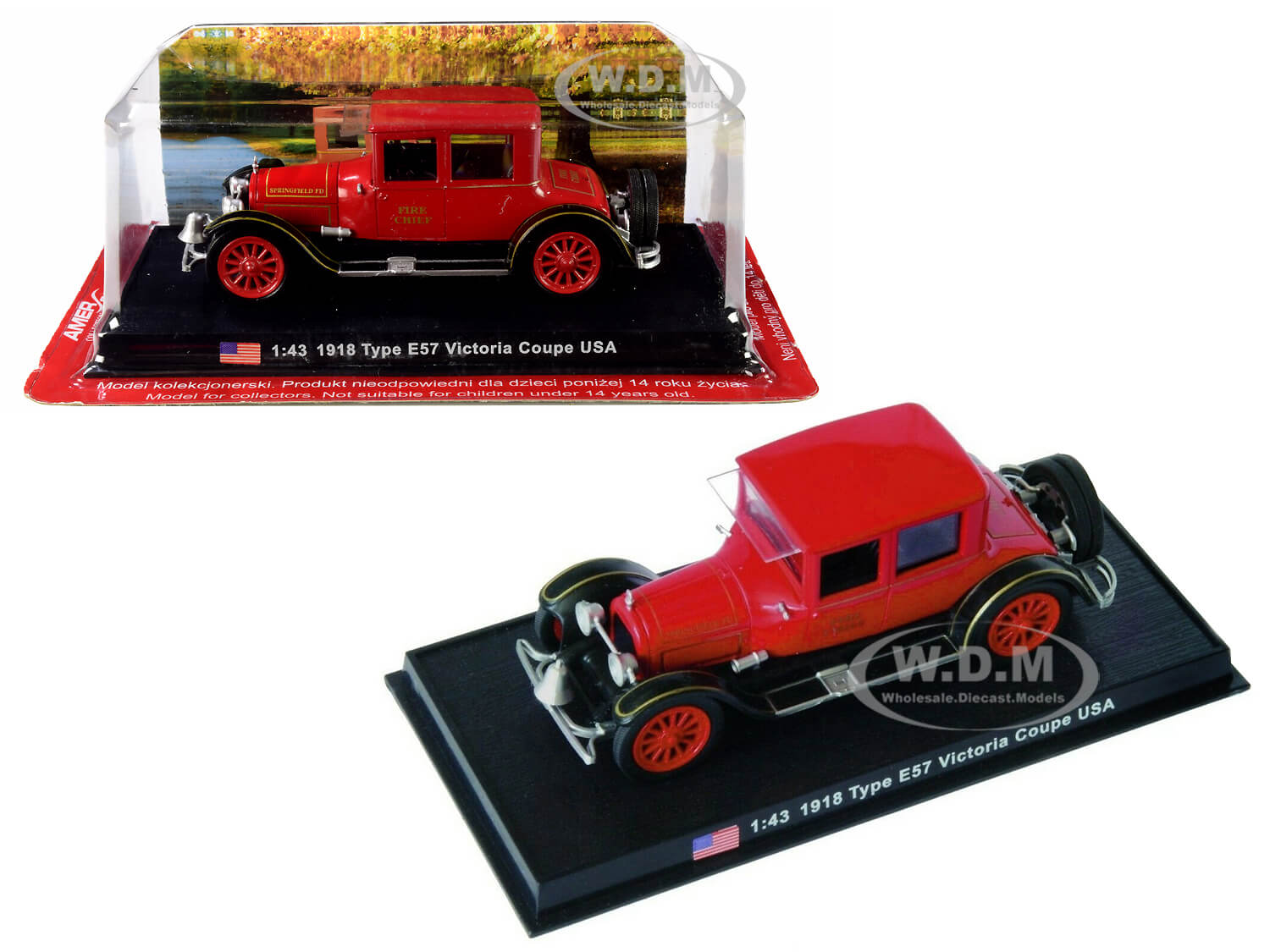 1918 Cadillac Type E57 Victoria Coupe Fire Chief 1/43 Diecast Model Car by Amercom