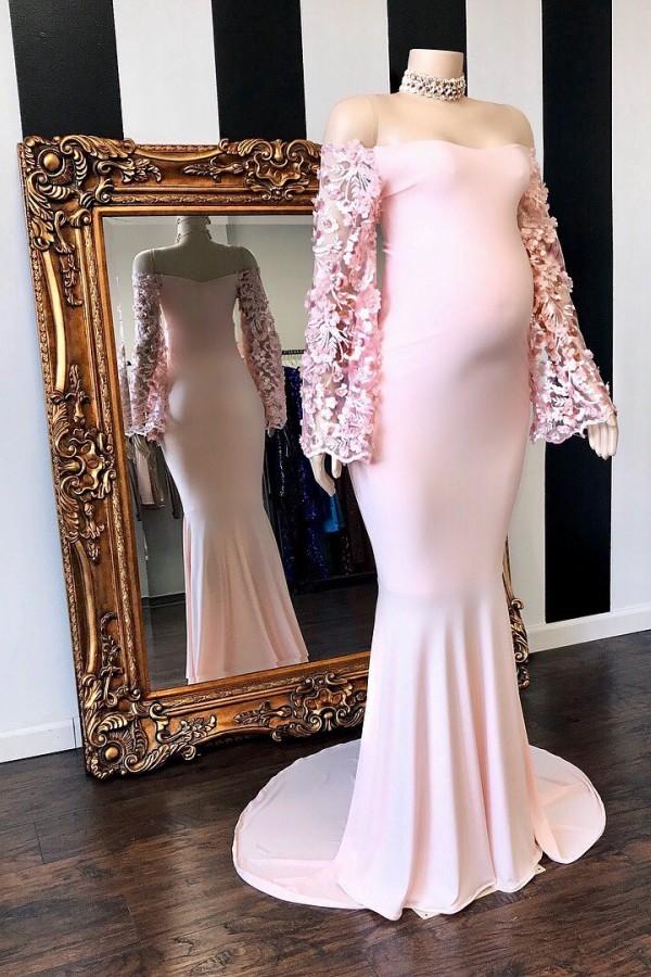 Rosa Blumen lange Ärmel Meerjungfrau bodenlange schwangere Abendkleider