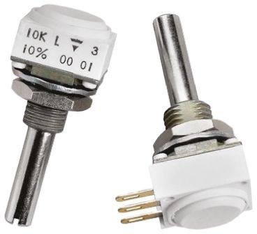 Vishay 2 Gang Rotary Cermet Potentiometer with an 6 mm Dia. Shaft - 5kΩ, ±10%, 0.1W Power Rating, Linear, Panel Mount