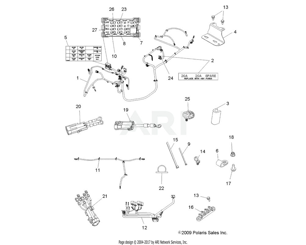 Polaris OEM 7176349 Decal, Fuse Box | [48V Fuse Center]