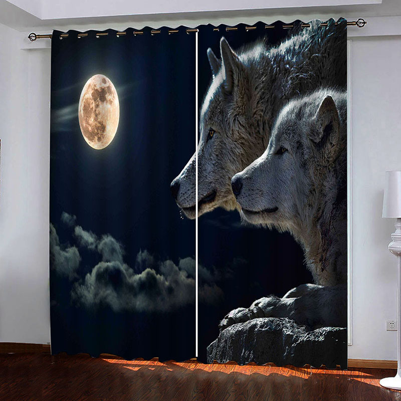 3D Modern Night Scenery Wolf Blackout Decoration 2 Panels Curtain Drapes for Living Room No Pilling No Fading No off-lining