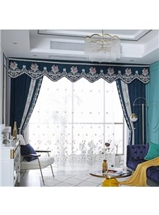 American Pastoral Style Upscale Organza Decorative Custom Sheer Curtains with Elegant Ginkgo Leaves Pattern