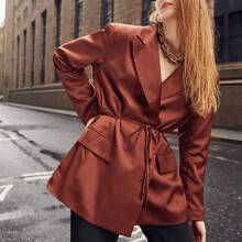 Solid Open Front Belted Blazer