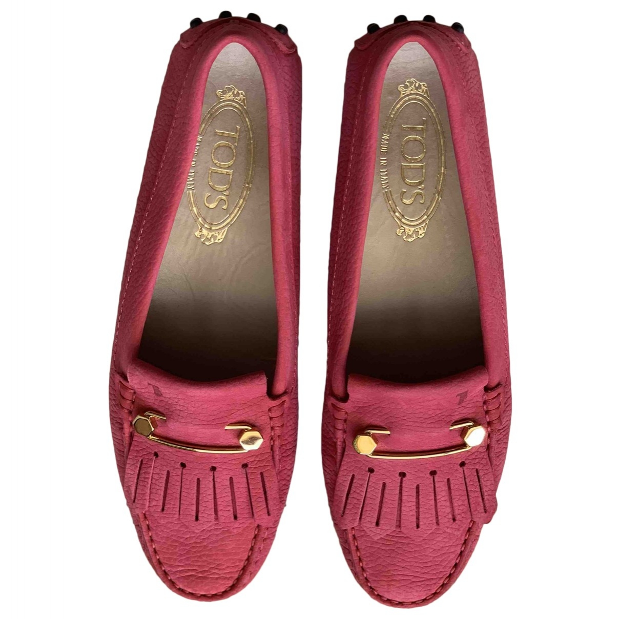 Tod's Gommino Red Suede Flats for Women 39.5 EU