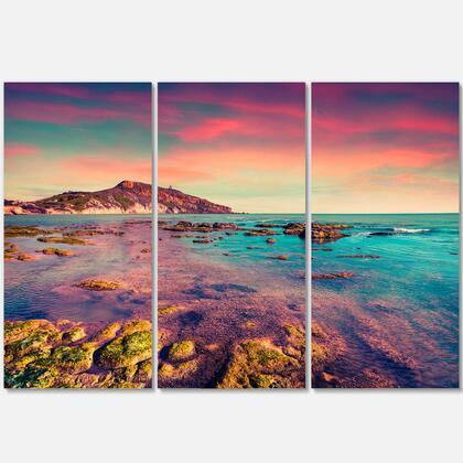 PT9091-3P Giallonardo Beach Colorful Sunset - Seashore Photo Canvas Print - 36X28 - 3