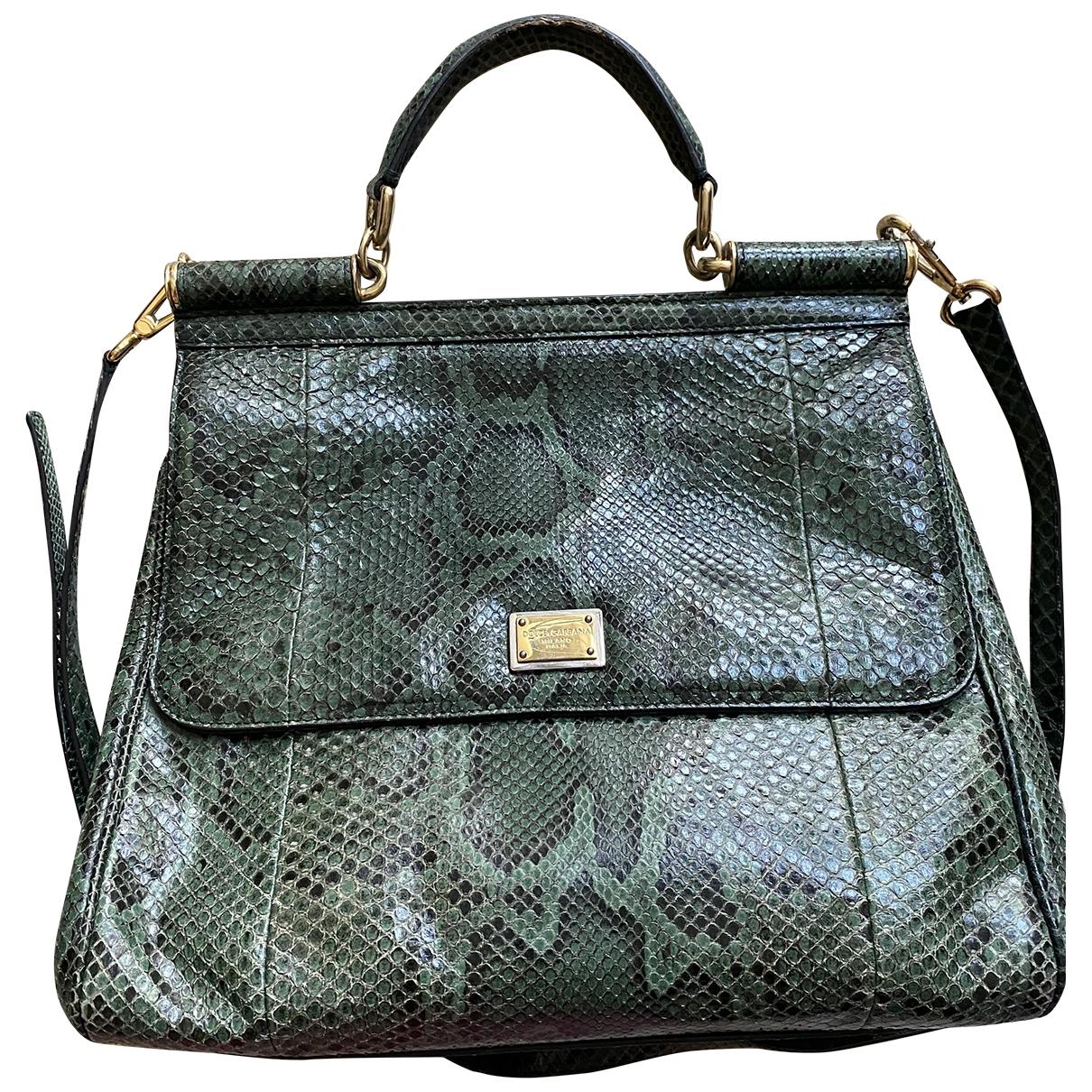 Dolce & Gabbana Sicily Handtasche in  Gruen Python