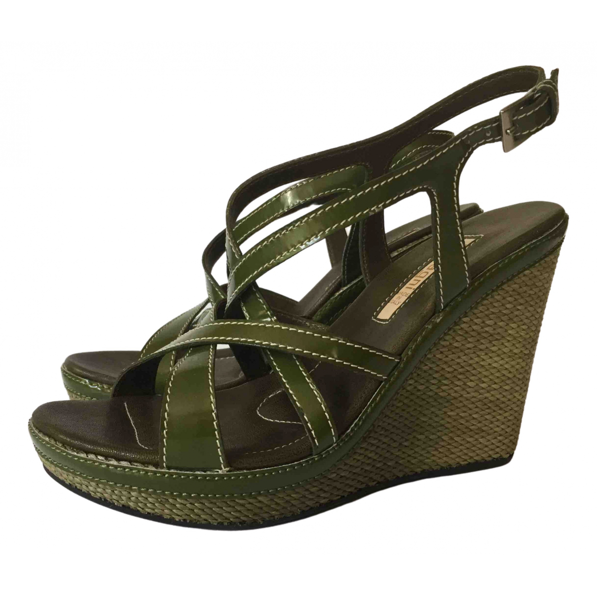 Non Signé / Unsigned \N Green Patent leather Sandals for Women 37 EU