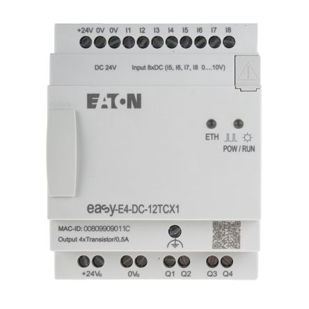 Eaton EASY-E4 Logic Module, 24 V dc Transistor, 4 (Analogue), 8 (Digital) x Input, 4 x Output