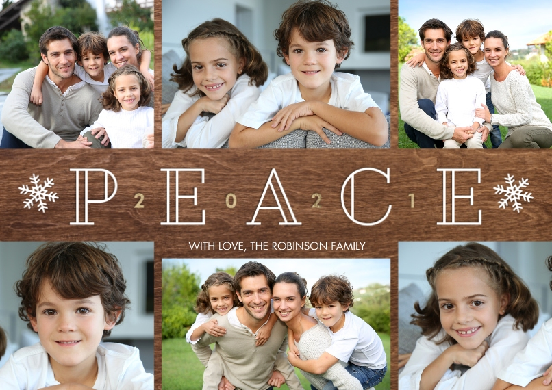 New Years Photo Cards 5x7 Cards, Premium Cardstock 120lb, Card & Stationery -New Year 2021 Peace Collage by Tumbalina