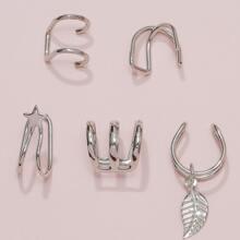 5 piezas cuff de oreja con diseño de hoja