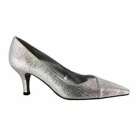 Easy Street Womens Chiffon Pumps Spike Heel, 8 Narrow, Gray