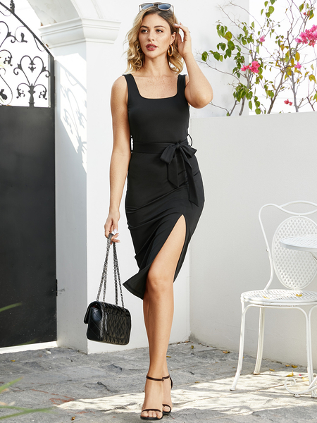 YOINS Black Split Design Square Neck Sleeveless Dress