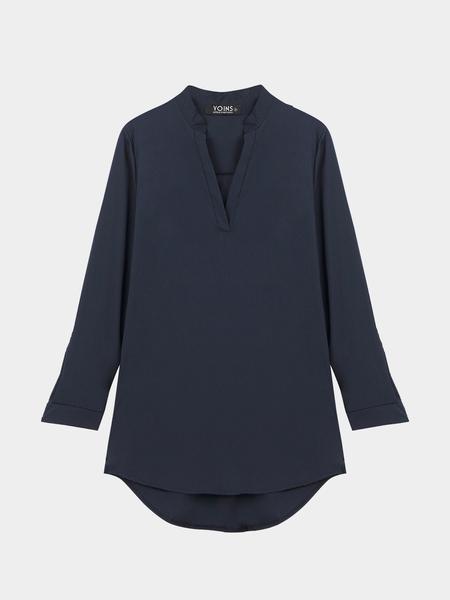 Yoins Navy V Neckline Shirt with Adjustable Sleeve
