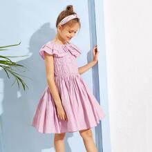 Girls Ruffle Trim Schiffy Bodice Dress