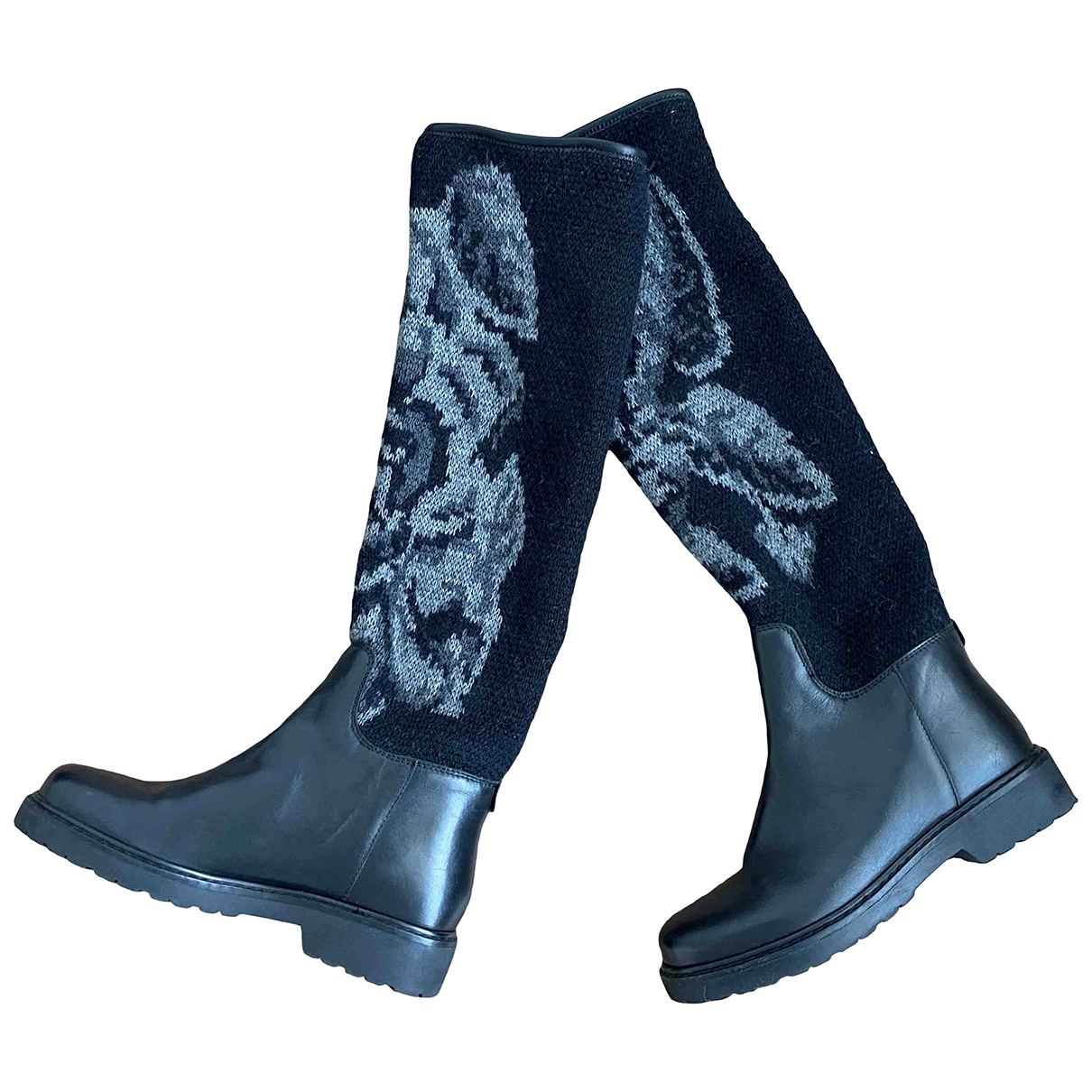 Twin Set \N Black Leather Boots for Women 36 EU