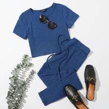 Conjunto camiseta tejida de canale unicolor con pantalones de cintura con cordon