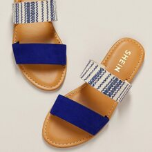 Blue Striped Duo Band Slip On Flat Sandals