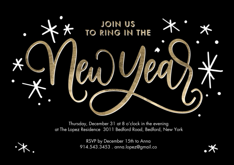 New Year's Photo Cards 5x7 Cards, Premium Cardstock 120lb with Elegant Corners, Card & Stationery -New Year Invite Script by Tumbalina