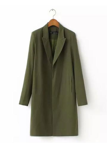 Yoins Green Long Pea Trench Coat