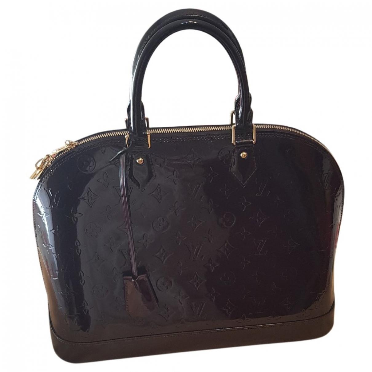 Louis Vuitton - Sac a main Alma pour femme en cuir verni - bordeaux