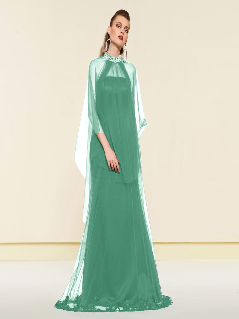 Ericdress A-Line Floor-Length Beaded Jewel Neck Evening Dress