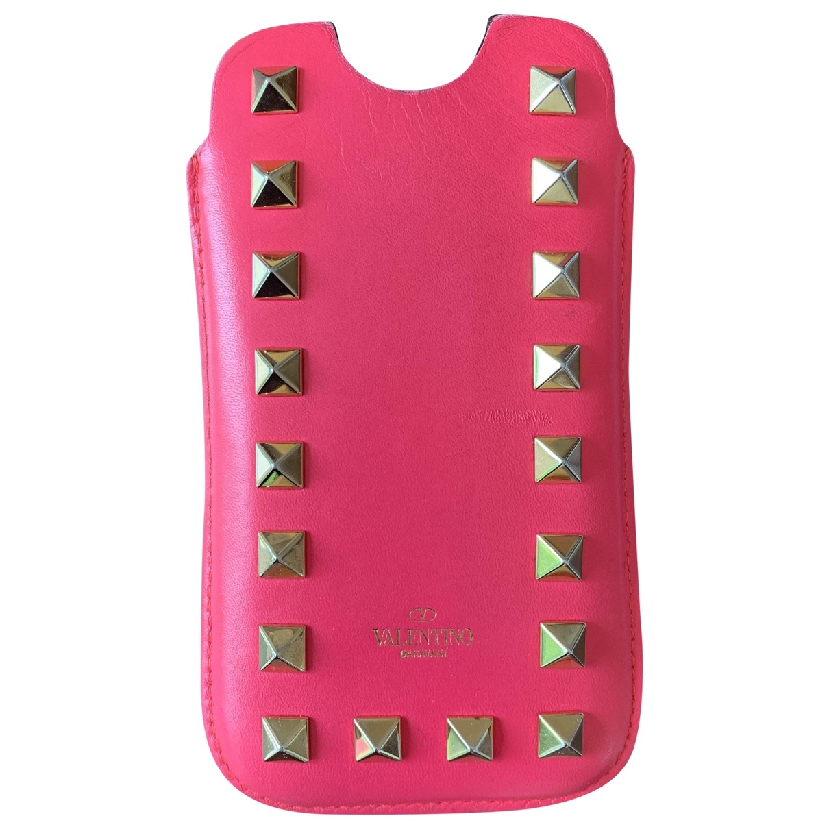 Valentino Garavani Guitar Rockstud Pink Leather Accessories for Life & Living \N
