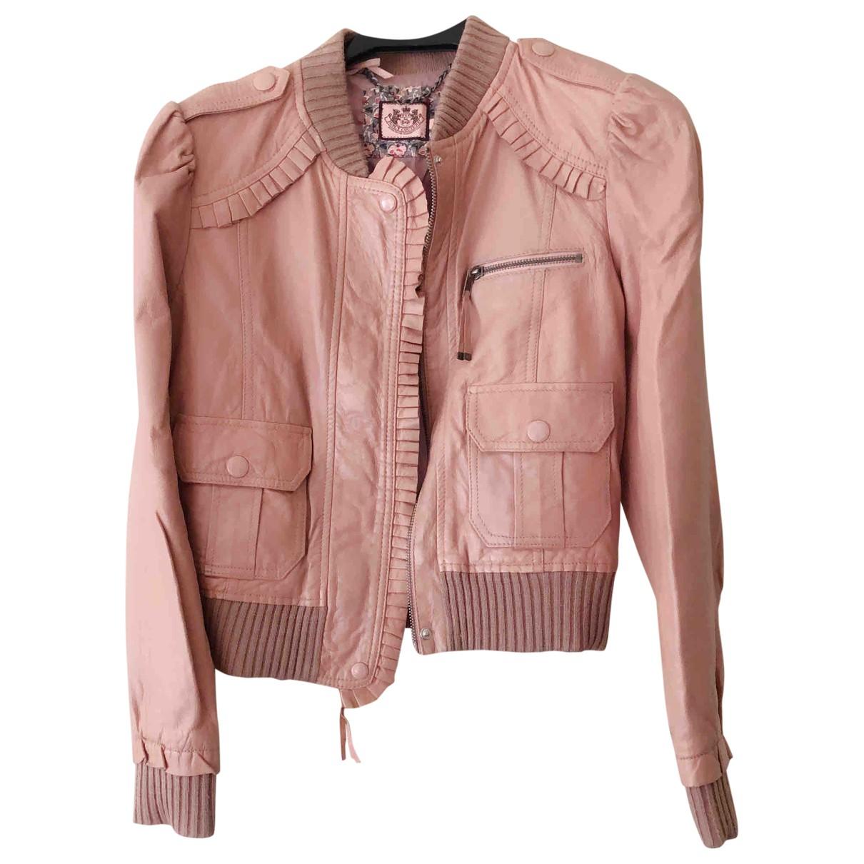 Juicy Couture - Blouson   pour femme en cuir - rose